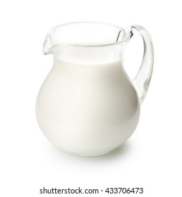 Jug of milk isolated on white background with clipping path.