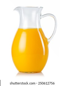 Jug with orange juice isolated on white background