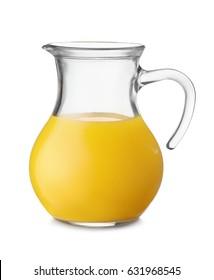 Jug of orange juice isolated on white