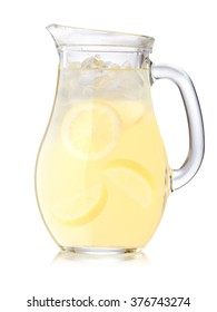 Jug or pitcher of iced lemonade or citronade. Clipping paths, large DOF