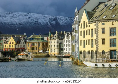Jugend style architecture in the norwegian town Aalesund, the view of historical center.