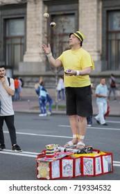 Juggler on street - Kiev, Ukraine - July 17, 2017