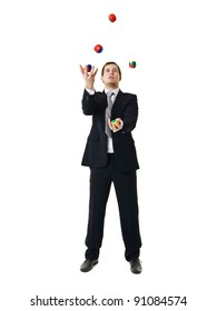 Juggling businessman isolated on white background