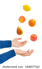 Juggling hands and fruits isolated on white background