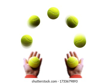 Juggling. A man juggles balls. Hands and yellow tennis balls in motion isolated on white background.