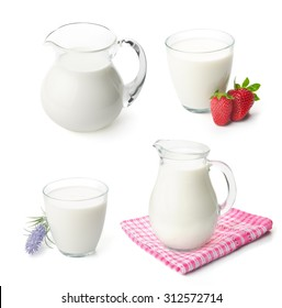 Jugs and glass of milk isolated on white.