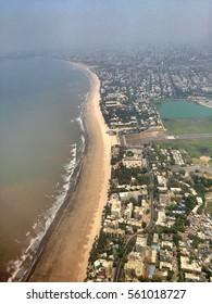 Juhu Beach view from airplane window