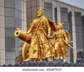 Juhu: September 2017: Beautiful statue of Chhatrapati Shivaji Maharaj near Juhu beach. (India)
