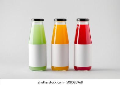 Juice Bottle Mock-Up - Three Bottles. Blank Label
