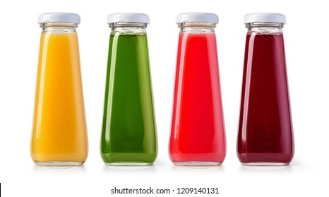 juice bottles isolated on white with clipping path
