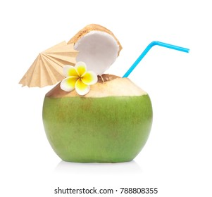 juice of coconut with drinking straw decoration by flower isolated on white background