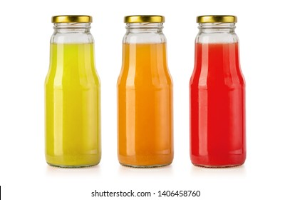 Juice glass bottle isolated on white with clipping path