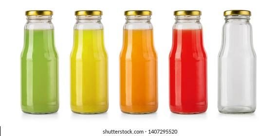 Juice glass bottles iand empty bottle solated on white