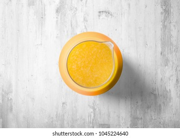 Juice isolated on white wood texture background.Top view.Orange juce.