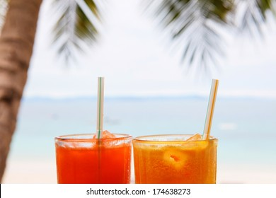 Juice on paradise beach