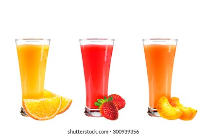 juice from orange, strawberry and a peach the isolated