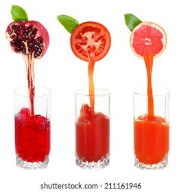 Juice pouring from fruits and vegetables into glass, isolated on white