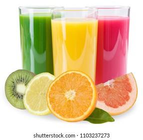 Juice smoothie fruit fruits smoothies isolated on a white background