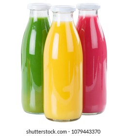 Juice smoothie fruit smoothies in bottle square isolated on a white background