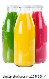 Juice smoothie orange fruit fruits smoothies in bottle isolated on a white background