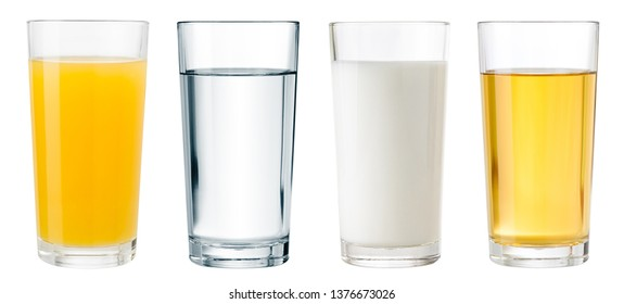 Juice, water and milk glasses isolated with clipping path included