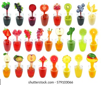 juices collage isolated on white background
