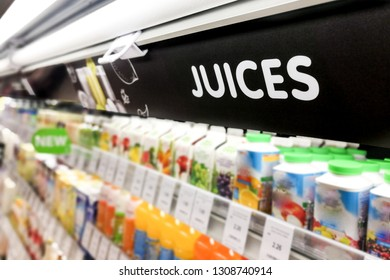 Juices signage at the fresh chiller refrigerated section of supermarket hypermarket