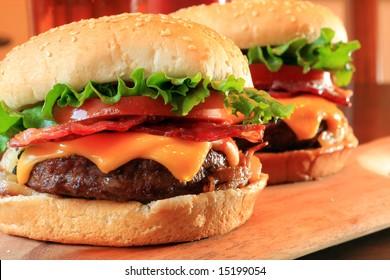 Juicy bacon cheeseburgers.