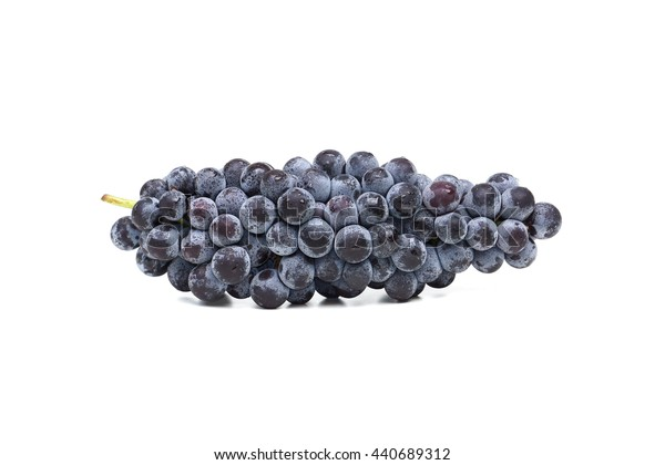Juicy black grapes isolated