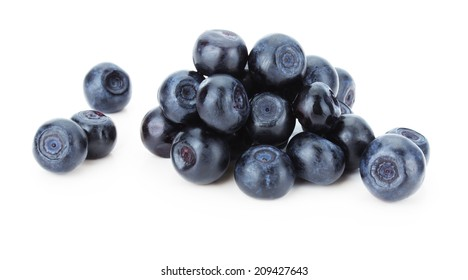juicy blueberries isolated on the white background
