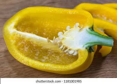 Juicy Bulgarian pepper. Fresh vegetables. Bulgarian pepper is a source of vitamin C. Ingredient for vegetable salad. Healthy diet. Yellow, orange and red bell pepper. Sweet bell peppers.