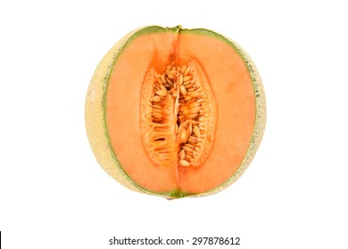 Juicy canteloupe melon sliced open to show orange flesh and seeds in the centre of the fruit