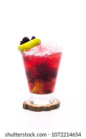 juicy cocktail with blackberry at glass on white background