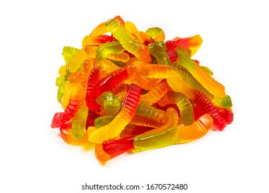Juicy colorful jelly sweets. Gummy candies. Snakes.