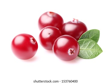 Juicy cranberry with leaves