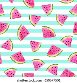 Juicy delicious slices of watermelon on a white background in blue stripes.Watercolor drawing.Seamless pattern.The illustration is ideal for printing on clothing, fabric, wallpaper,and other surfaces.