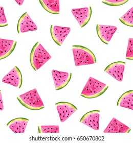 Juicy delicious watermelon slices on a white background. Watercolor drawing. Seamless pattern. The illustration is ideal for printing on clothing, fabric, wallpaper, wrapping and other surfaces.