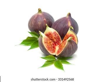 juicy figs closeup on a white background. horizontal photo.