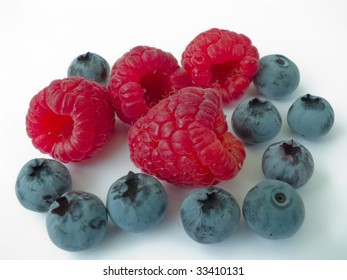 Juicy and fragrant berries of a raspberry and blueberry