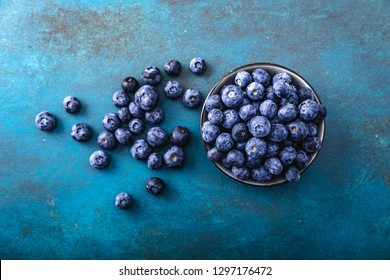 Juicy and fresh blueberries on a beautiful background in a bowl