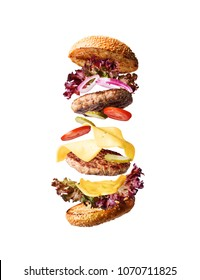 juicy and fresh classic burger with ingredients on white background