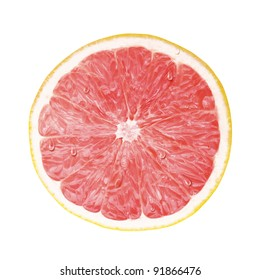 juicy fresh cross section, transection of pomelo with whtie background