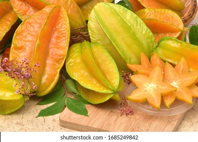 Juicy fresh delicious orange star fruit