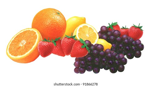 juicy fresh fruits with white background