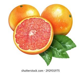 Juicy fresh of grapefruit on whtie background