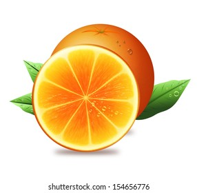 Juicy fresh orange and half of orange with green leaves.