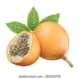 Juicy fresh of passion fruit  on whtie background