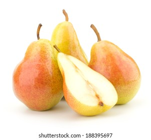 Juicy fresh pears isolated on white background