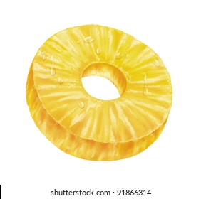 juicy fresh slice of pineapple with white background