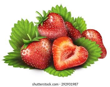 Juicy fresh of strawberries on whtie background